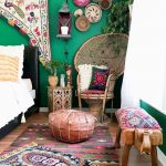 Bohemian Bedroom Idea Corner Chair Made Of Rattan Colorful Throw Pillows Ottoman Chair In Brown Wood Bench Seat With Bohemian Textile Cover Layered Bohemian Rugs
