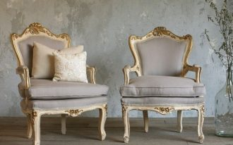 Louis armchair French in pale tone