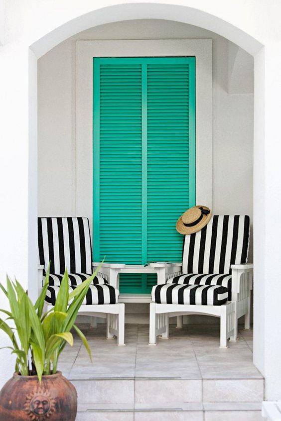 Med coastal exterior idea turquoise wood window in large size white black striped chairs