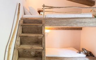 clean lined and minimalist bed bunk with rustic touch