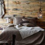 Contemporary Rustic Bedroom Idea Reclaimed Wood Wall Industrial Lighting Fixtures Gray Bedding Treatment