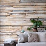 Contemporary Rustic Living Room Reclaimed Wood Wall Idea Modern Couch In White Light Toned Throw Pillows I