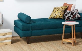 midcentury Eliot daybed in deep blue
