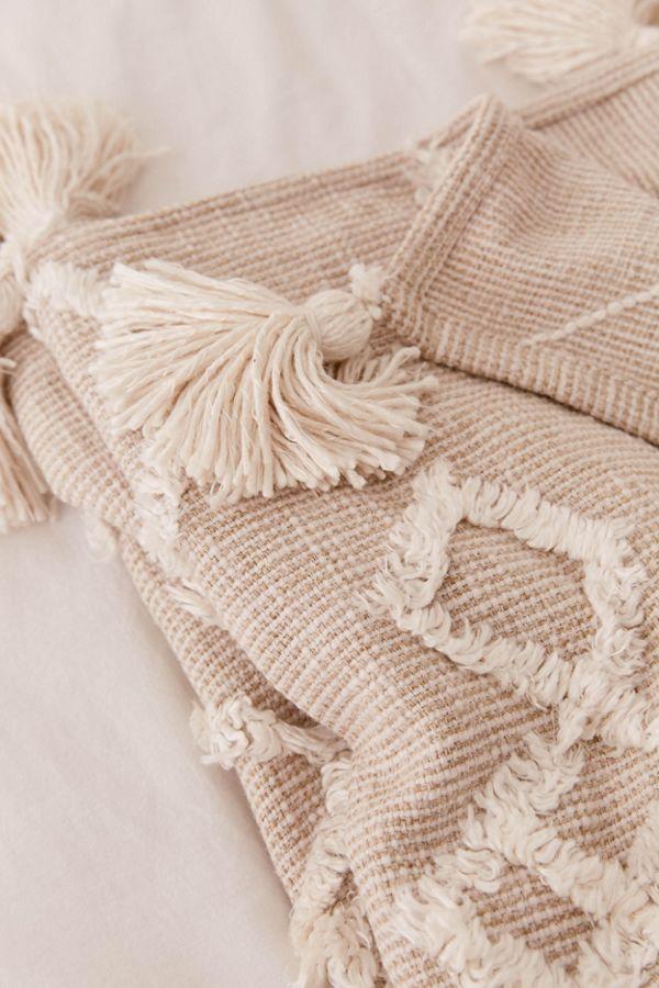 minimalist Boho throw blanket with textured geometrical patterns