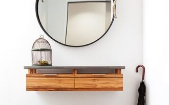 minimalist hallway idea wall mounted hall console table oversized wall mirror in round shape with metal frame a couple of boots