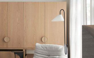minimalist seating corner idea cozy corner chair in white unique floor lamp made of metal