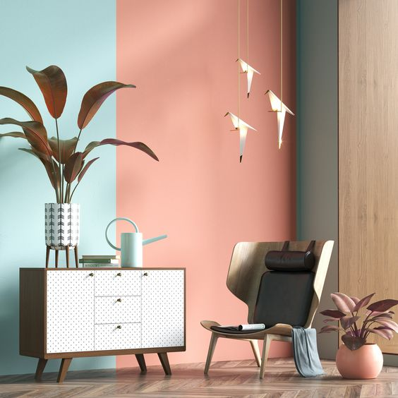 pink blue walll accent idea midcentury modern console with minimalist pattern on surface modern style chair potted greenery herringbone patterned wood floors