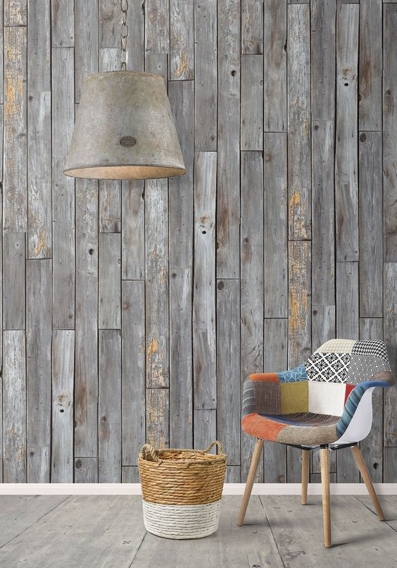 reclaimed wood accent in gray oversized pendant midcentury modern chair with multicolor and multipattern upholstery ornate basket for storage
