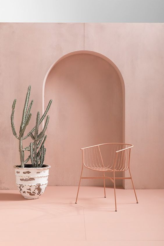 soft and calm pink wall and chair whitewashed pot with sucullents