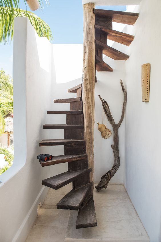 spiral outdoor staircase in rustic style
