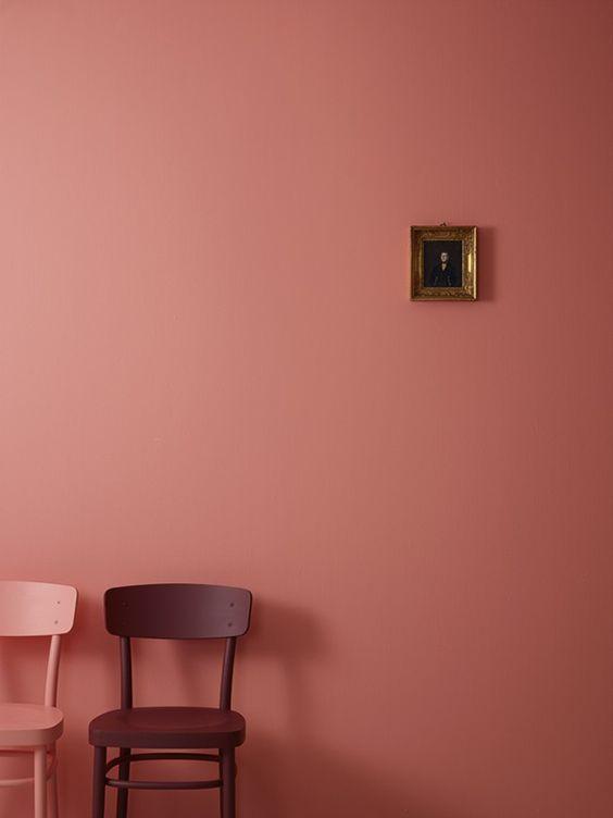 subtle pink walls dark pink wood chair pink wood chair