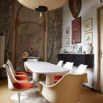 Tulip Dining Chairs In White White Dining Table Shag Rug In White Oversized Lantern Pendant
