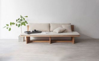 wood daybed with upholstery