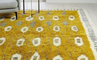 Boho shag rug in bold yellow highlighted with gray and white patterns
