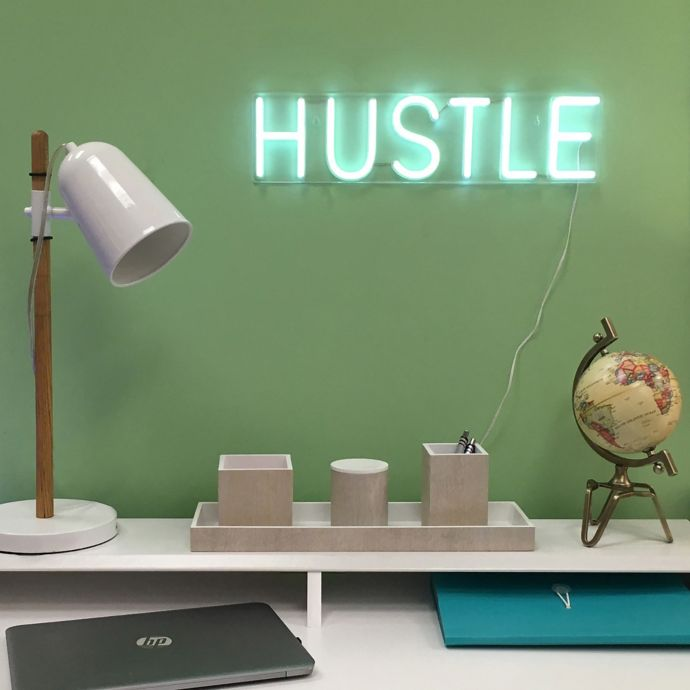 HUSTLE neon in white white working desk wood stand table lamp with white lampshade