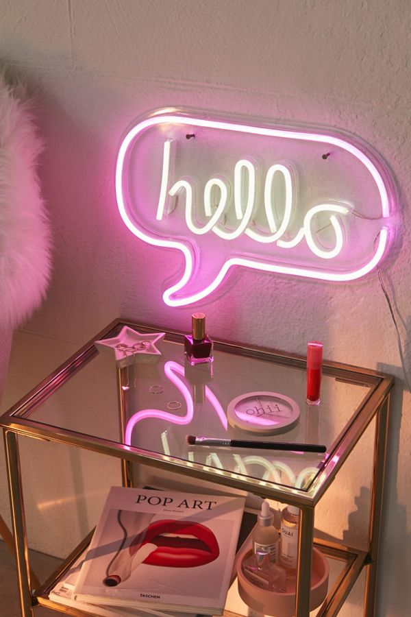 Hello sign lighting glass side table with brass frame