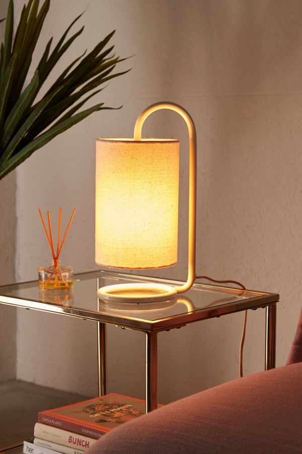 Kira bedside lamp with heavy metal stand and lantern like shade