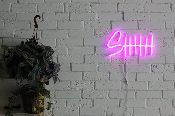 SHHH neon in pink white painted brick walls hanging plant with pot