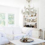 All White Living Room Furniture Set White Shag Rug Recessed Shelving Unit In White Crystal Chandelier