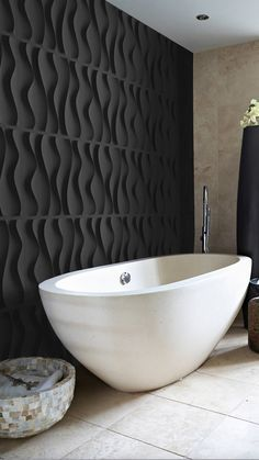 black textured wall white ceramic floors white bathtub