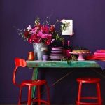 Bold Purple Walls Bold Red Stools Shabby Chic Table In Turquoise