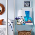 Calming Blue Wall Painting Bed With Canopy Decorative Basket Glass Bedside Table In Modern Style