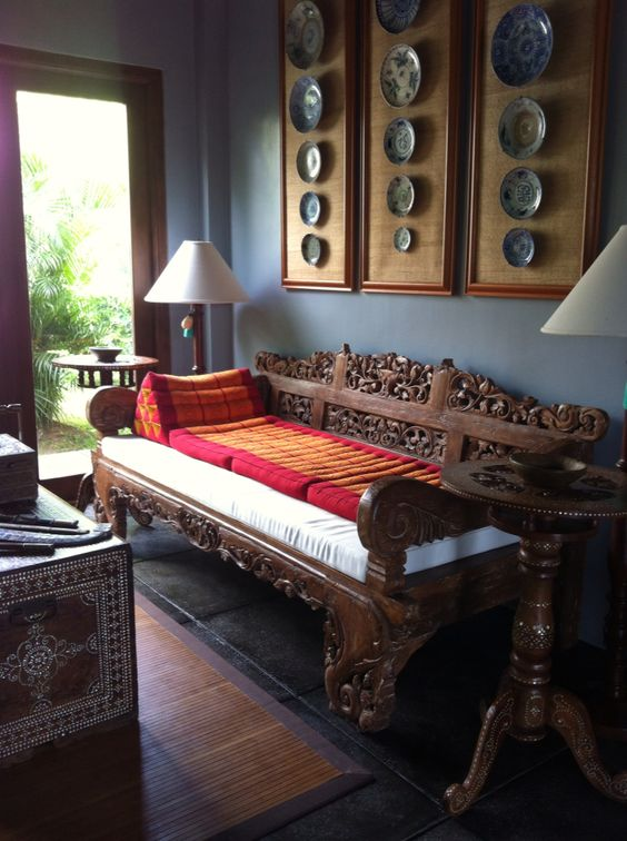 carved daybed from Jepara curly base side table with round top
