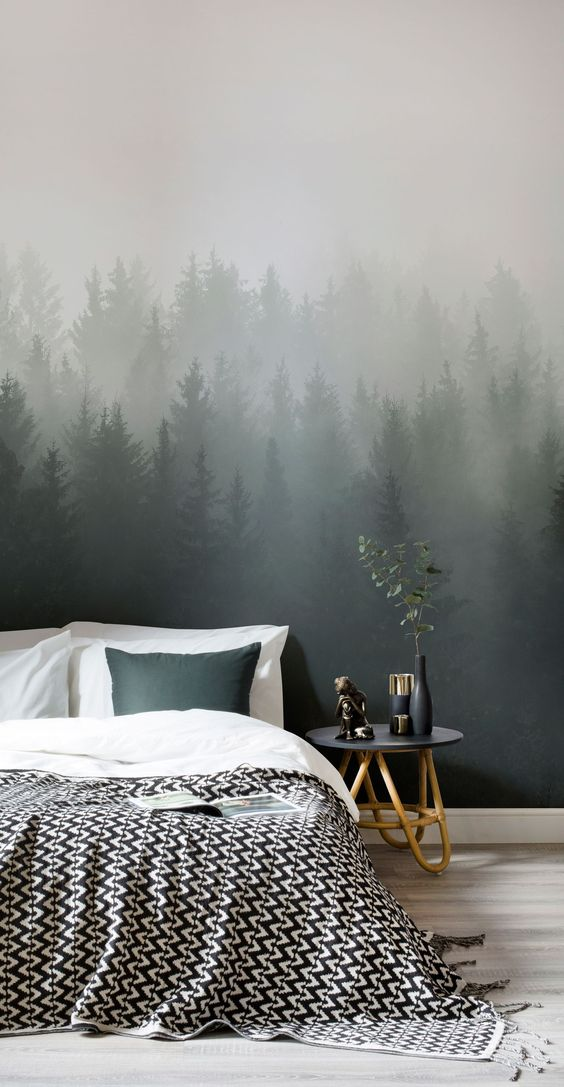 deep forest mural wallpaper in green ombre