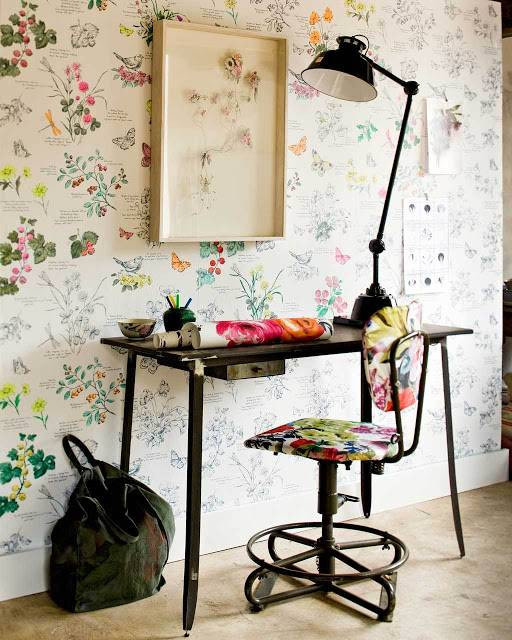 floral vintage wallpapers floral vintage working chair high profile working desk made of hard metal higher table lamp in black