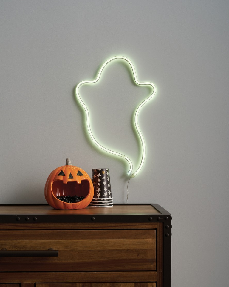 flying ghost neon light for wall grinned pumpkin for Halloween