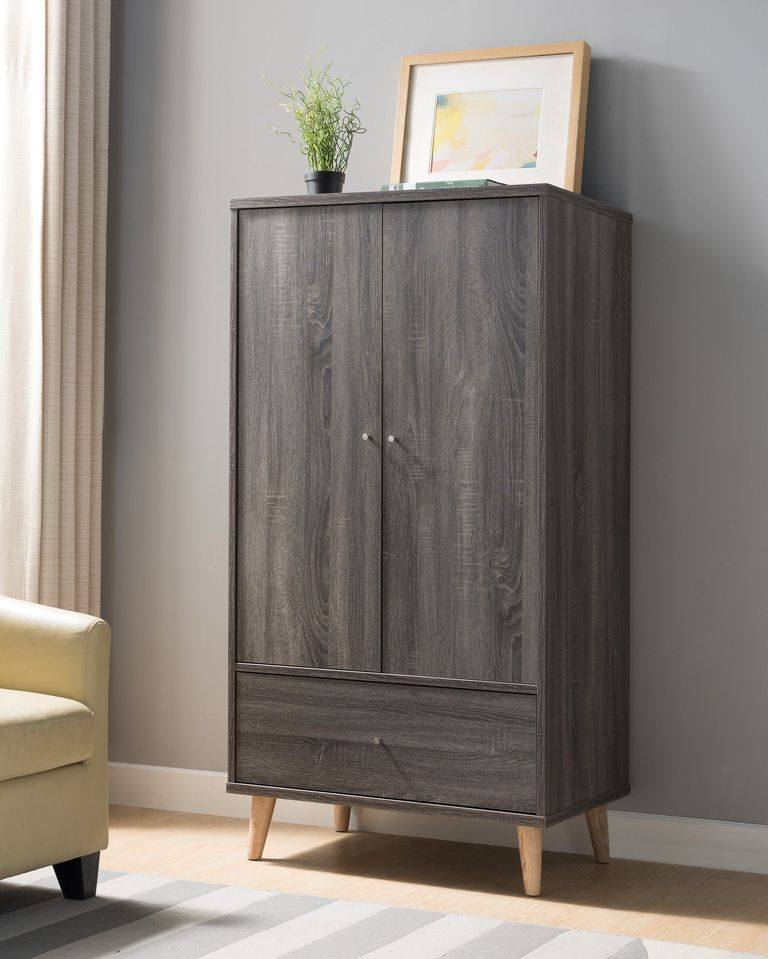 grey armoire in mid century modern style