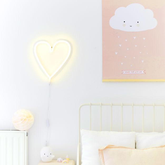 heart shape neon lit by energy effecient LED