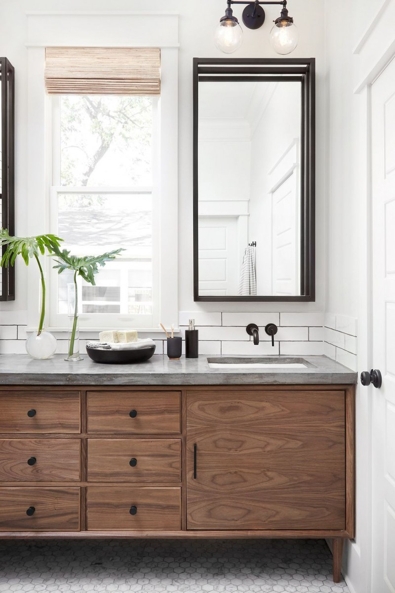 industrial midcentury modern bathroom wood cabinetry industrial style light fixtures industrial style mirror