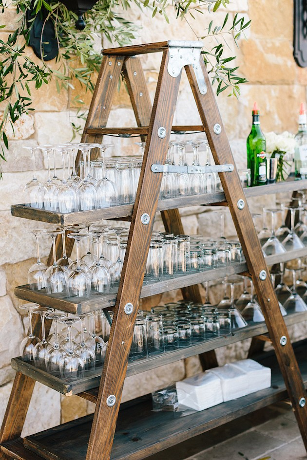 ladder drink station made of wood