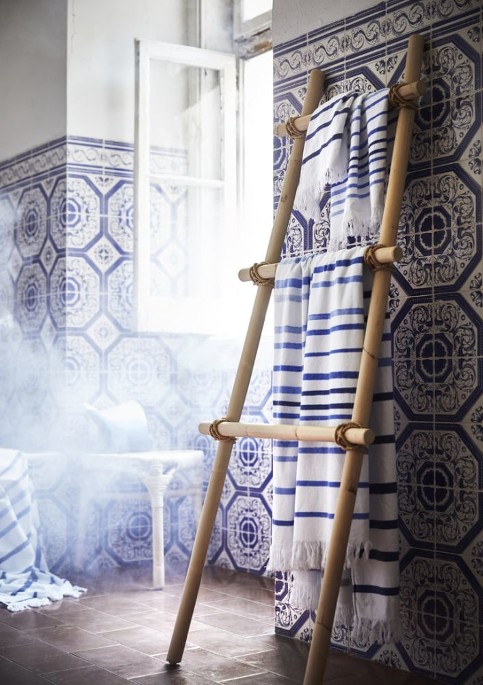 layered patterns in blue bamboo ladder for rack