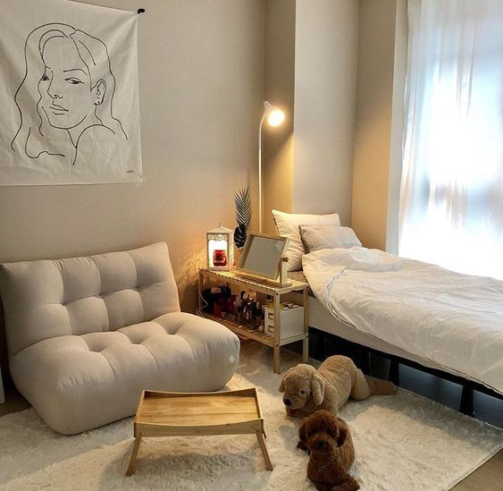 modern style girl bedroom single bed frame white bedding fluffy tufted seat in white white fur rug white window curtains