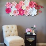 Paper Flower Wall Decor Idea Armrest Less Lounge Chair In White Black Wood Side Table