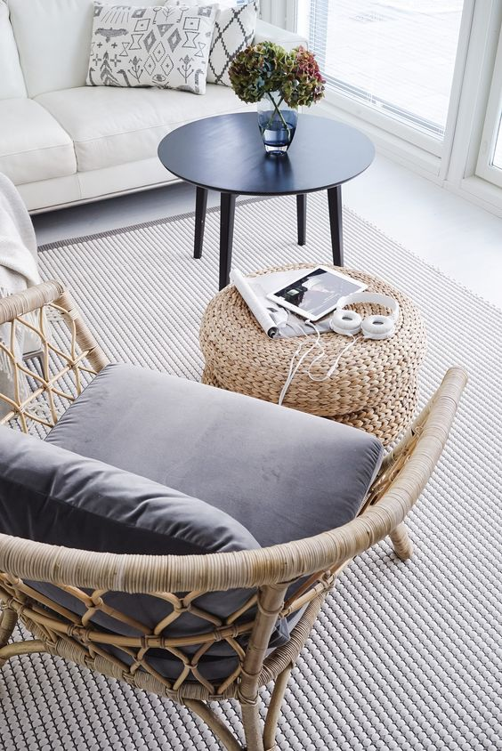 rattan chair with gray cushion wicker coffee table