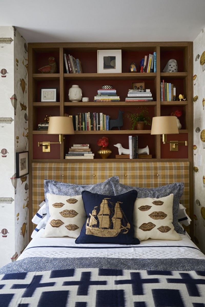 recessed smart storage solution bed frame with fabric headboard bedding with fun motifs fun wallpaper prints