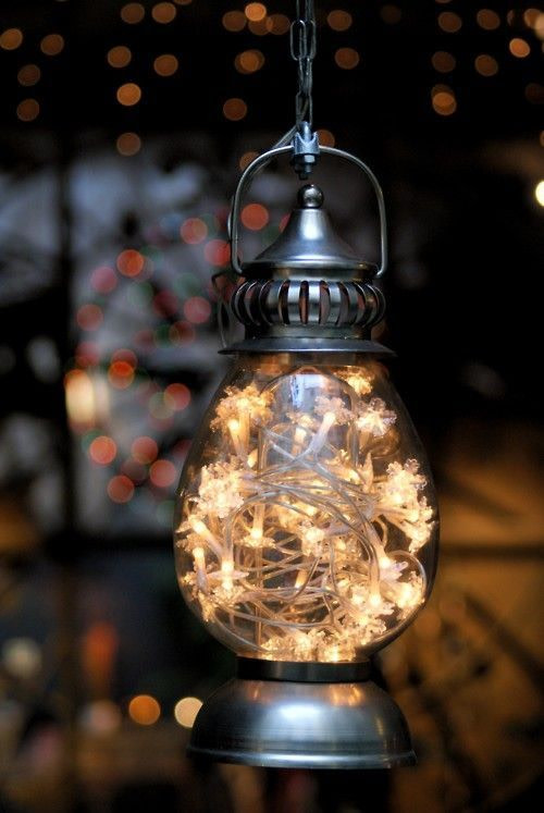 string light lantern idea with metal structure and clear glass lampshade