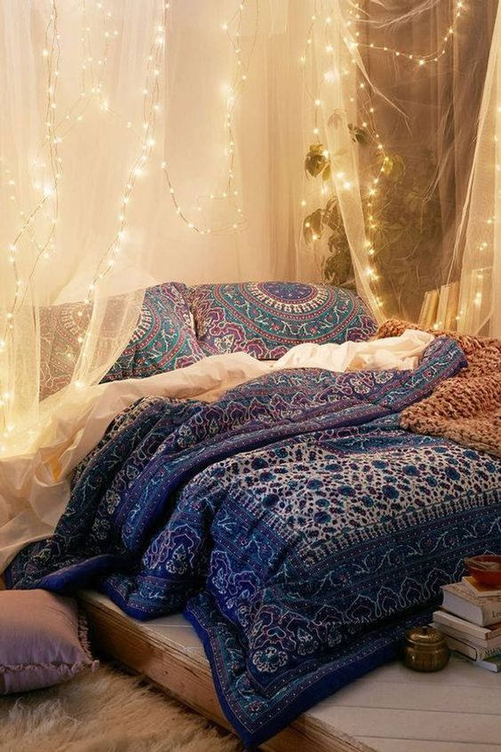 string light made bedroom canopy Bohemian bedding and quilt in multicolor