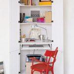 Walk In Closet Workspace Idea In White Red Working Desk