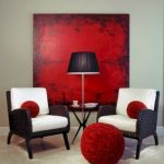 Wicker Chairs With White Cushion And Red Throw Pillows Vivid Red Pouf White Crisp Wall Extra Large Red Wall Decor With Black Splashes On Each Edge