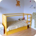 Wood Bed In Yellow Pop Of Color