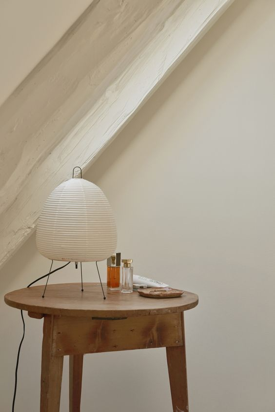 Akari table lamp made of washi paper cover and metal tripod legs