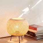 Alina Rattan Desk Lamp With Iron Tripod Base And Globe Rattan Lampshade