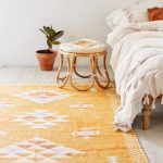 Boho Duvet Cover In White Boho Area Rug In Yellow With White Accent Bamboo Bedside Table With Round Top