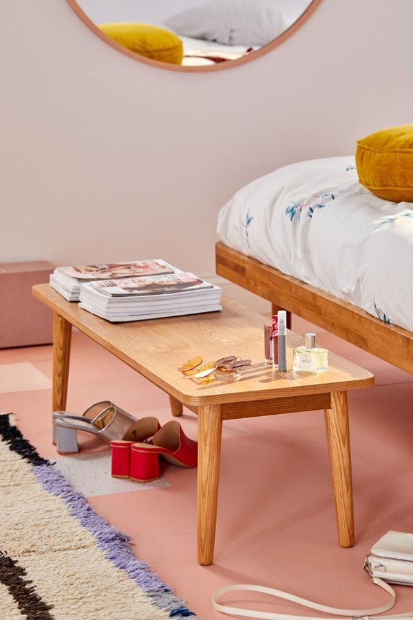 Camila wood bench in midcentury modern style