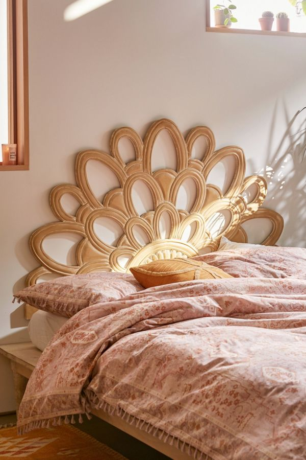 Magdalene bed frame with blooming flower like headboard made of solid wood