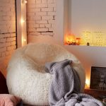 Minnie Faux Fur Chair In White Gray Throw Blanket